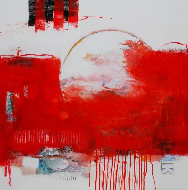 abstrakte gem lde acryl mischtechnick rot. Black Bedroom Furniture Sets. Home Design Ideas